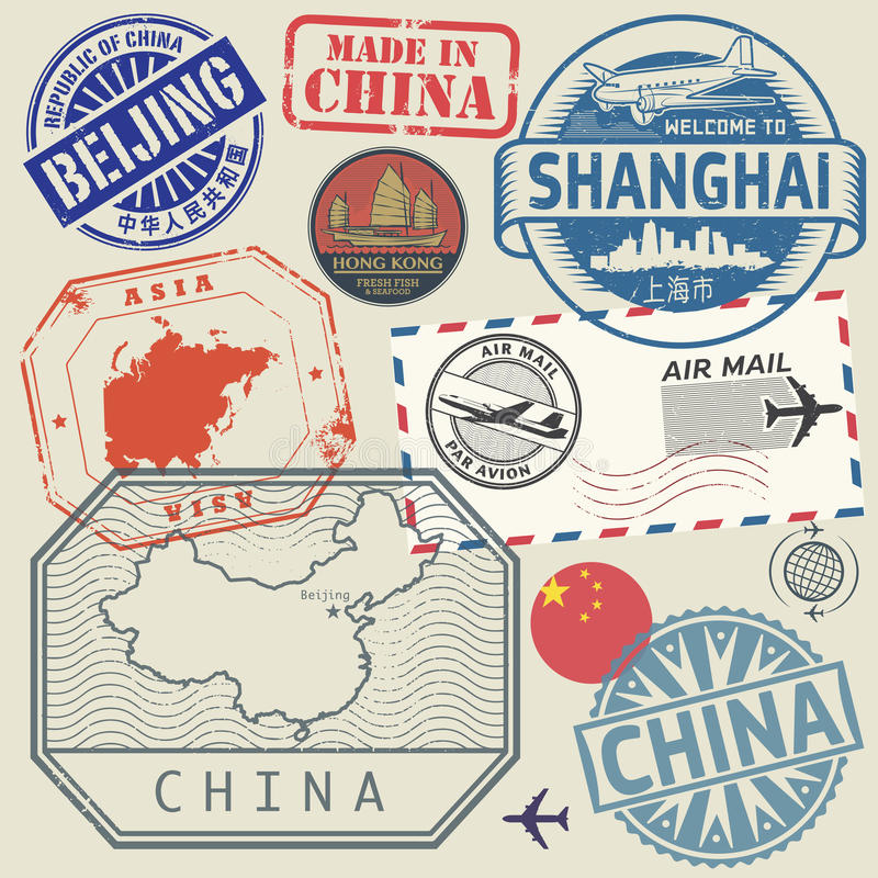 Travel stamps set with the text China, Shanghai, Beijing stock illustration