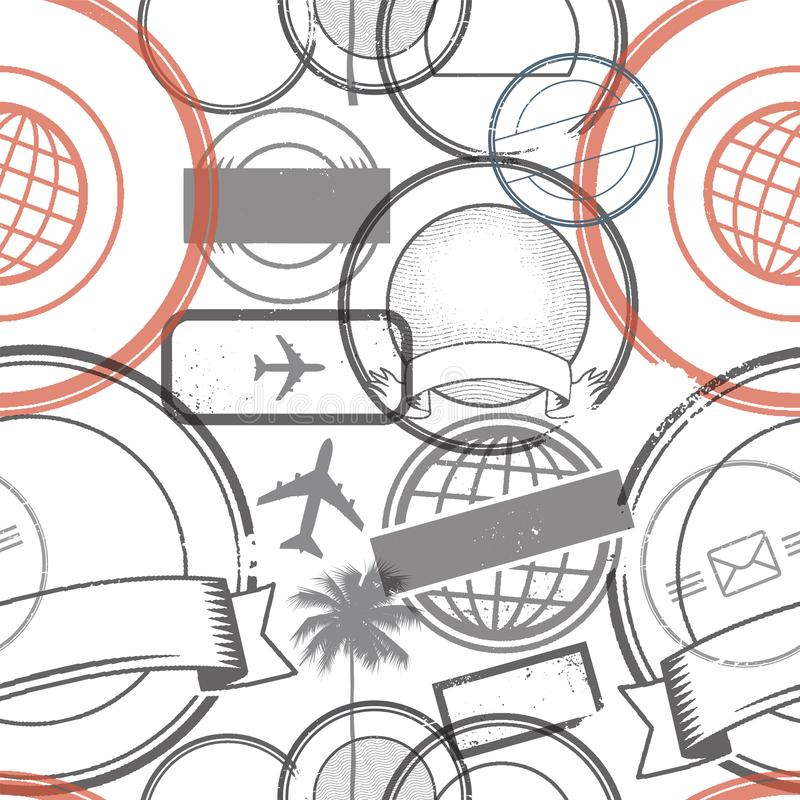 Travel stamps or symbols set seamless pattern royalty free illustration