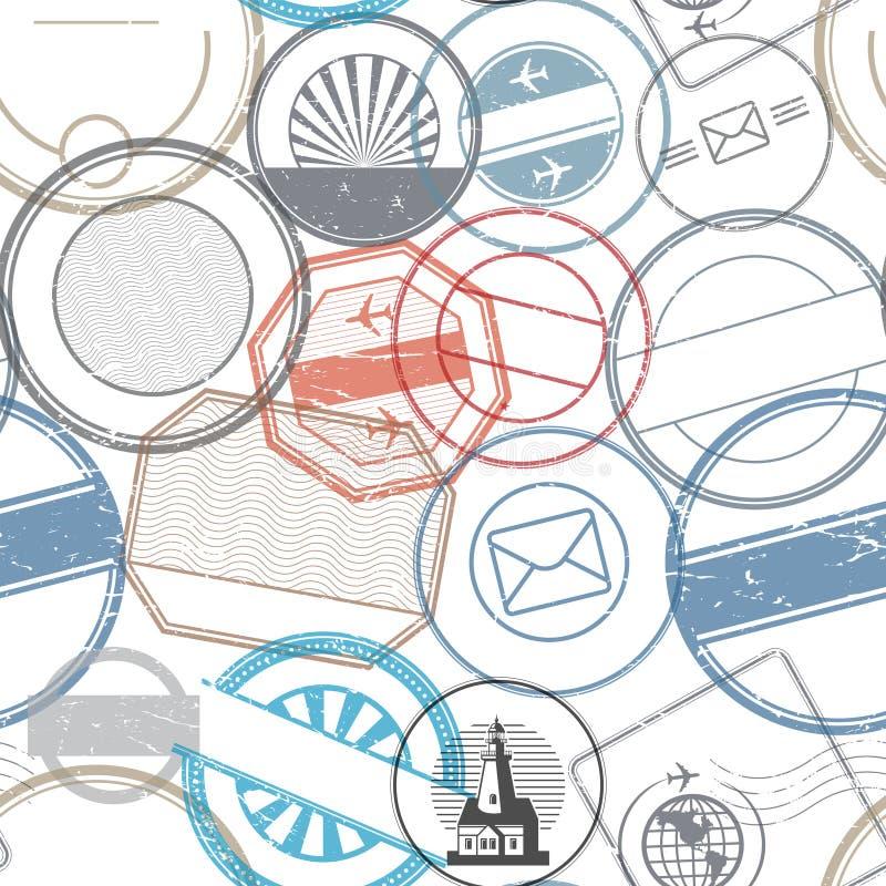 Travel stamps or symbols set seamless pattern vector illustration