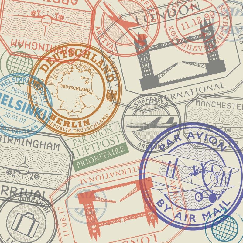 Travel stamps or symbols set, European countries vector illustration