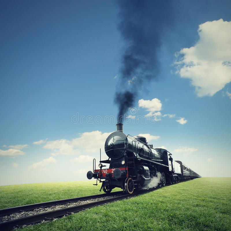 Travel by steam train royalty free stock photo