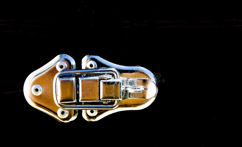 Travel storage box in close-up at stainless steel buckle locker. A Travel storage box in close-up at stainless steel buckle locker royalty free stock images