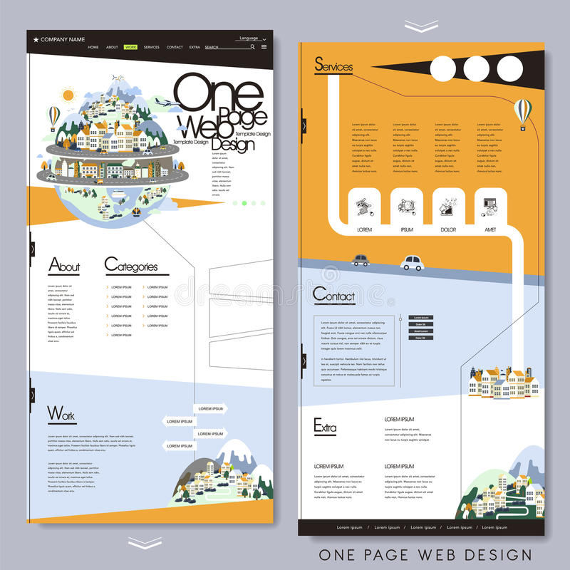 Travel style one page website template stock illustration