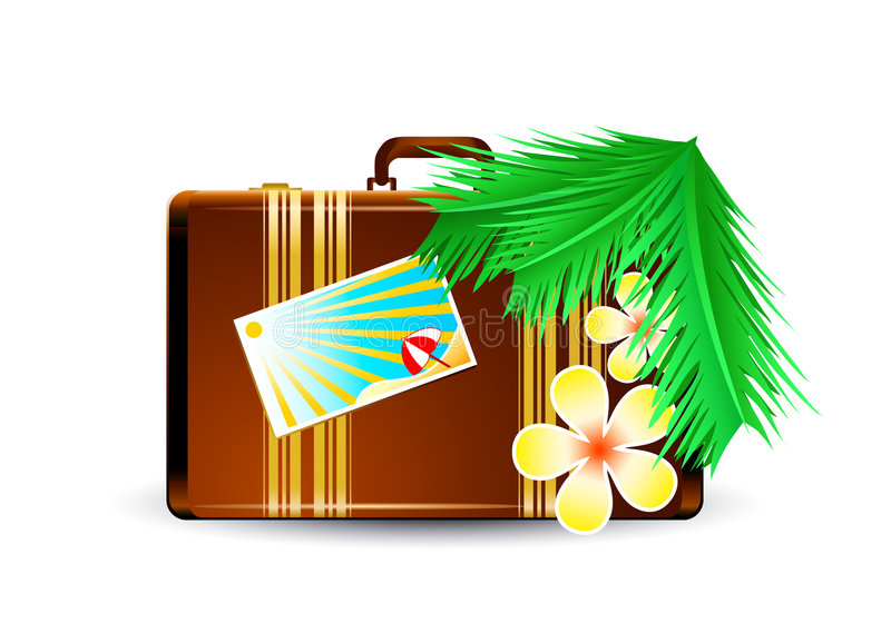 Travel suitcase. At the sunny beach interior