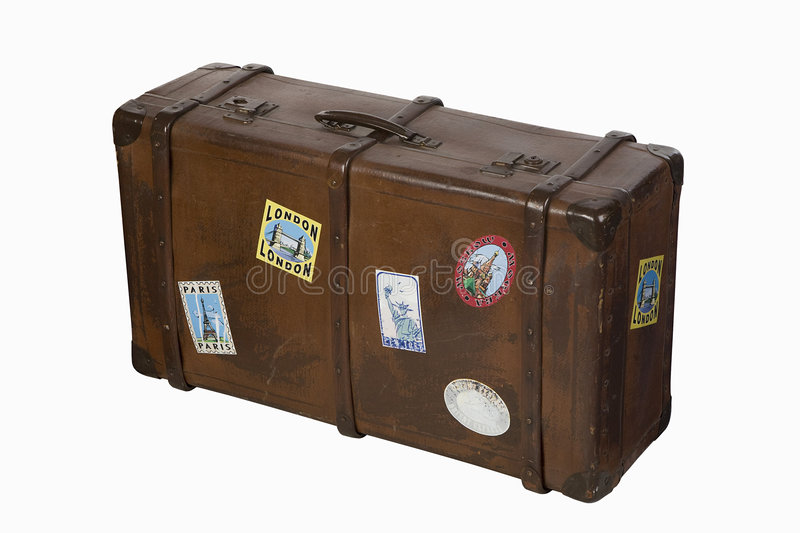 Travel suitcase. With city stickers royalty free stock images
