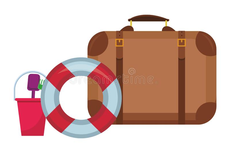 Travel suitcase and buoy stock illustration