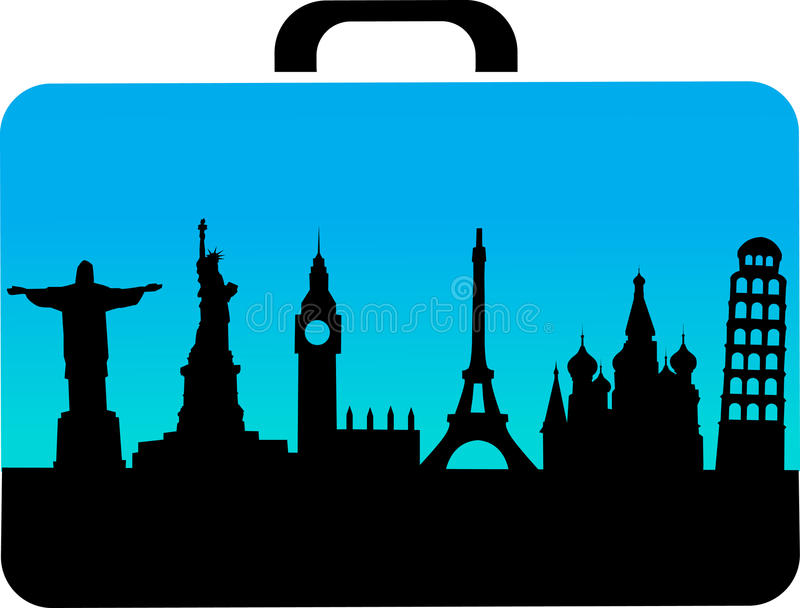 Download Travel Suitcase With Cities Icons Stock Vector - Image: 21215366