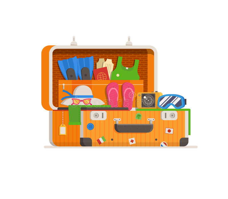 Travel Suitcase Full of Things stock illustration