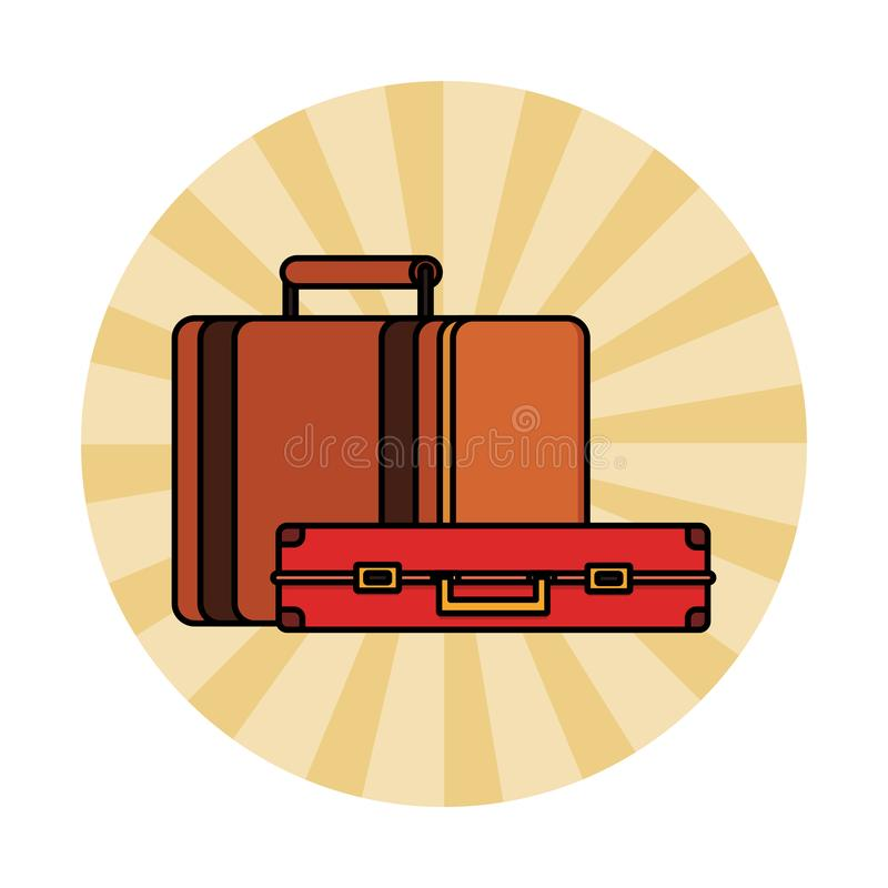Travel suitcase icon. Colorful round icon vector illustration graphic design royalty free illustration