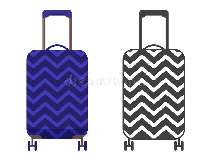 Travel Suitcase Icon. Modern blue travel suitcase. Carry on luggage or baggage for trips. Wheeled travel bag with handle icon royalty free illustration
