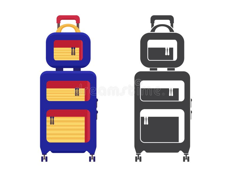 Travel Suitcase Icon. Modern travel suitcase. Carry on luggage or baggage for trips. Wheeled travel bag with handle icon royalty free illustration