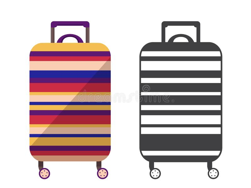 Travel Suitcase Icon. Modern striped travel suitcase. Carry on luggage or baggage for trips. Wheeled travel bag with handle icon vector illustration