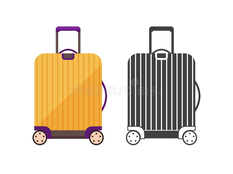 Travel Suitcase Icon. Modern yellow travel suitcase. Carry on luggage or baggage for trips. Wheeled travel bag with handle icon stock illustration