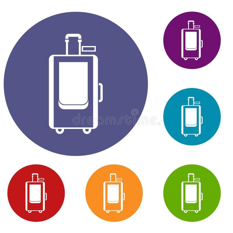 Travel suitcase icons set stock illustration
