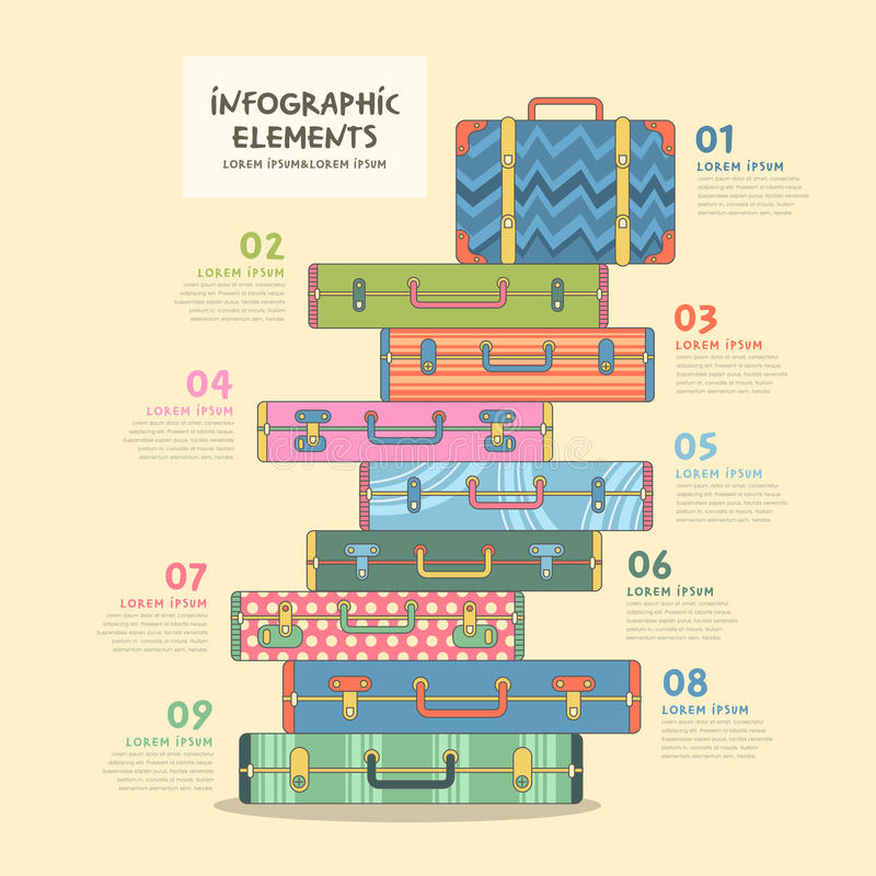 Travel suitcase infographics design royalty free illustration
