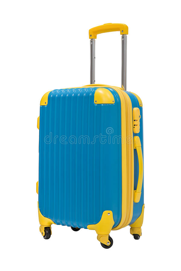 Travel suitcase isolate on white. Travel suitcase in blue color isolate on white stock photography