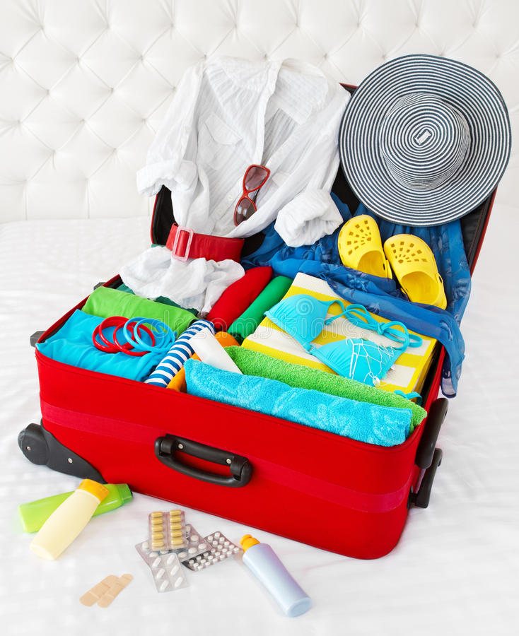 Download Travel Suitcase Packed For Vacation Royalty Free Stock Photos - Image: 25379198
