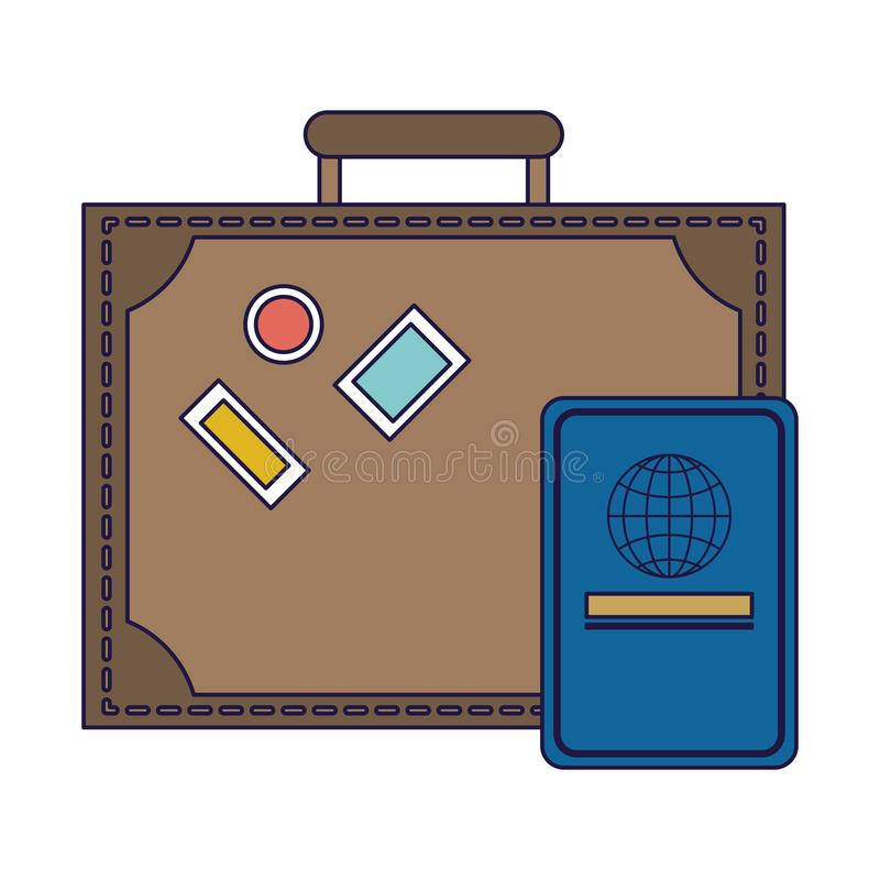 Travel suitcase and passport blue lines vector illustration
