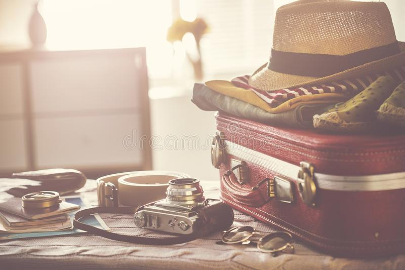 Travel suitcase prepareing concept stock image