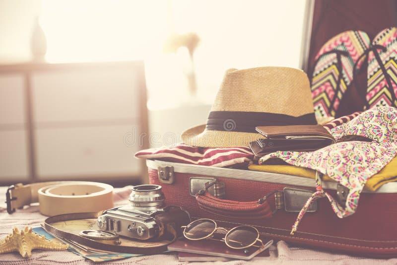 Travel suitcase prepareing concept stock images