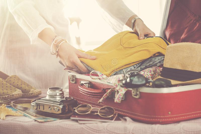 Travel suitcase prepareing concept royalty free stock image