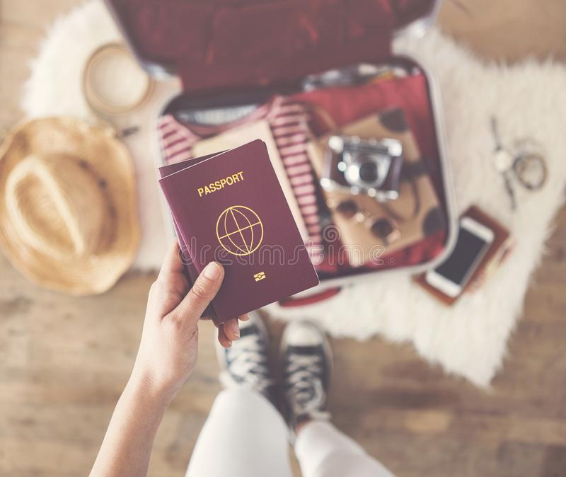 Travel suitcase preparing concept royalty free stock images