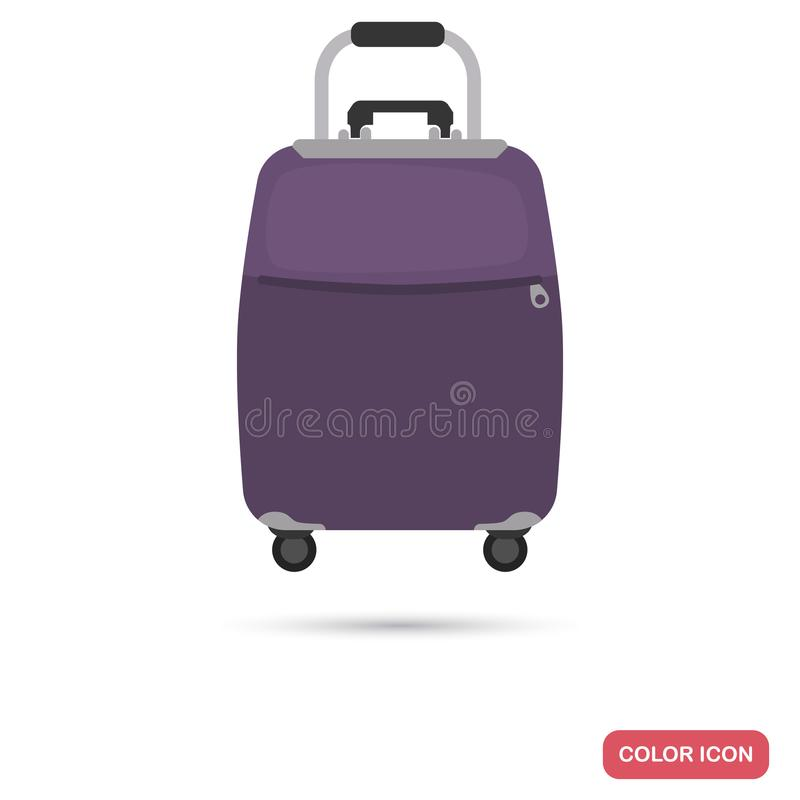 Travel suitcase on wheels color flat icon vector illustration