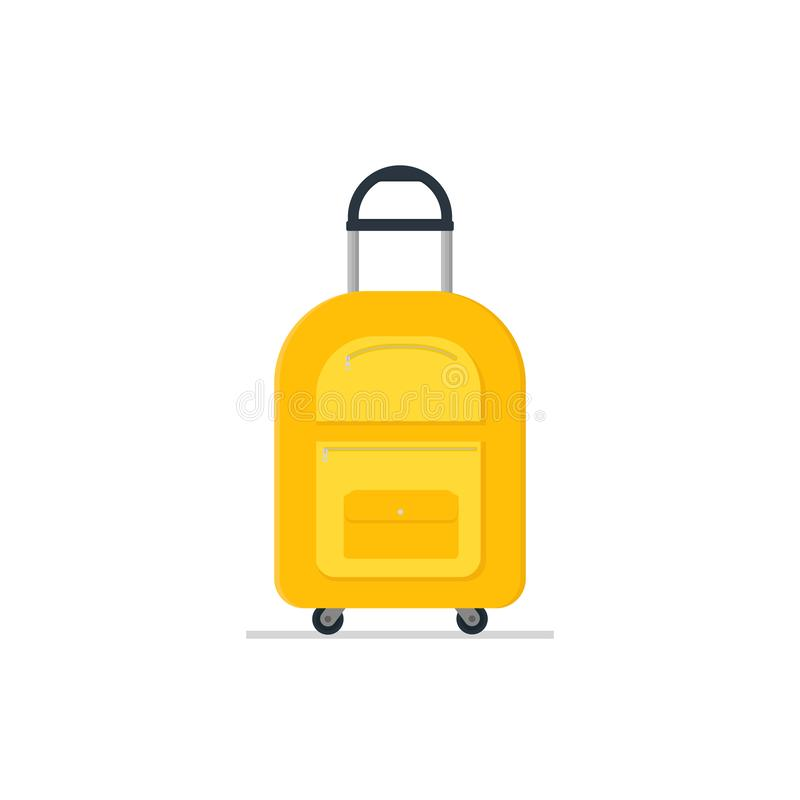 Travel suitcase on wheels with telescopic handle. Tourist luggage. Bright yellow cloth bag. Baggage of traveler. Flat vector icon royalty free illustration