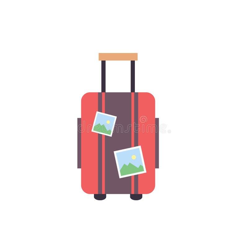 Travel suitcase wiht stickers - travel luggage icon - flat vector illustration isolated on white background. stock illustration