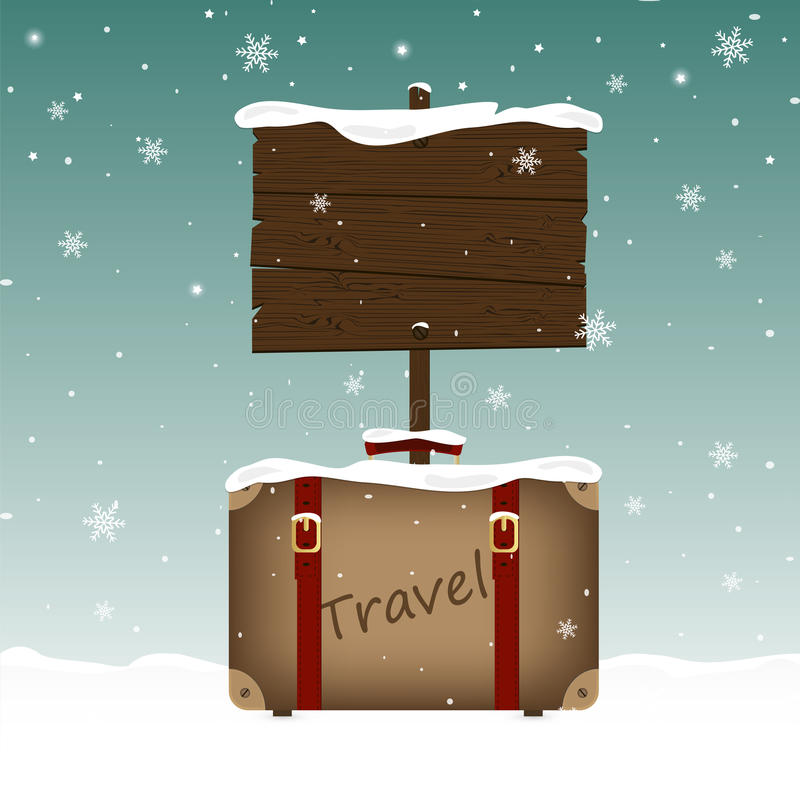 Travel suitcase and a wooden signboard in snow. Christmas and New Year theme. Place for your text vector illustration
