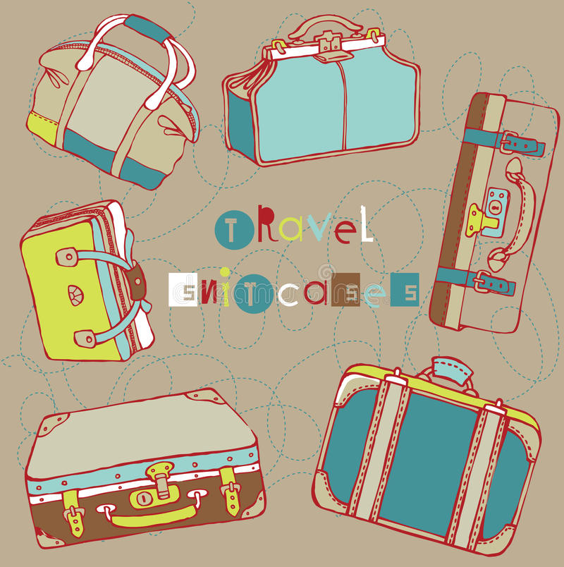 Download Travel suitcases stock vector. Image of leather, beach - 16096966