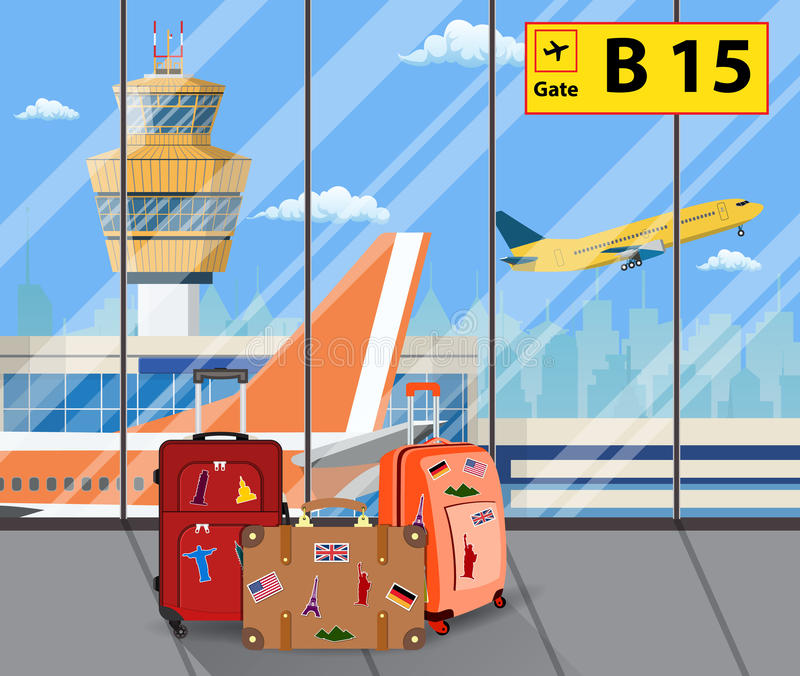 Travel suitcases inside of airport with a plane,. Control tower, cityscape in background. Travel, vacation, Business trip concept. Vector illustration in flat stock illustration