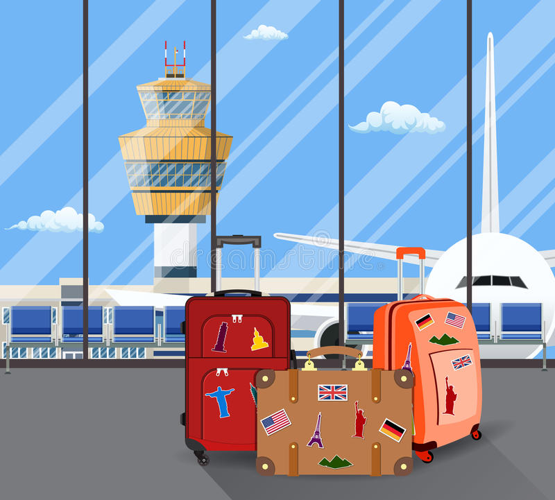 Travel suitcases inside of airport with a plane,. Control tower. Travel, vacation, Business trip concept. Vector illustration in flat design stock illustration