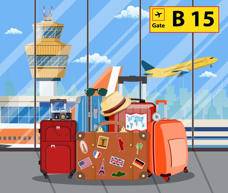 Travel suitcases inside of airport with a plane,. Control tower. Travel, vacation, Business trip concept. Vector illustration in flat design royalty free illustration