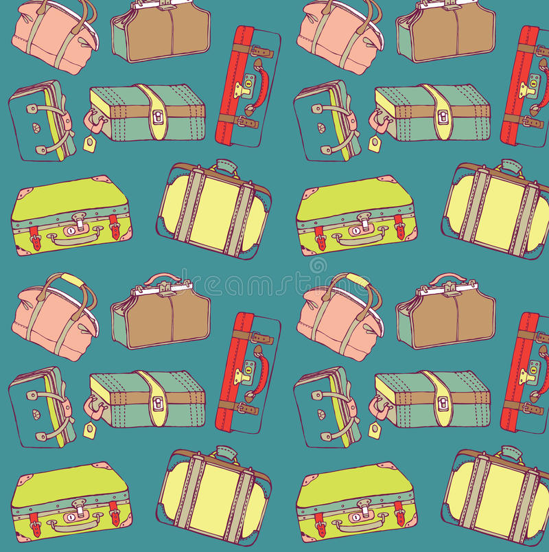 Download Travel suitcases seamless stock vector. Image of front - 16096989