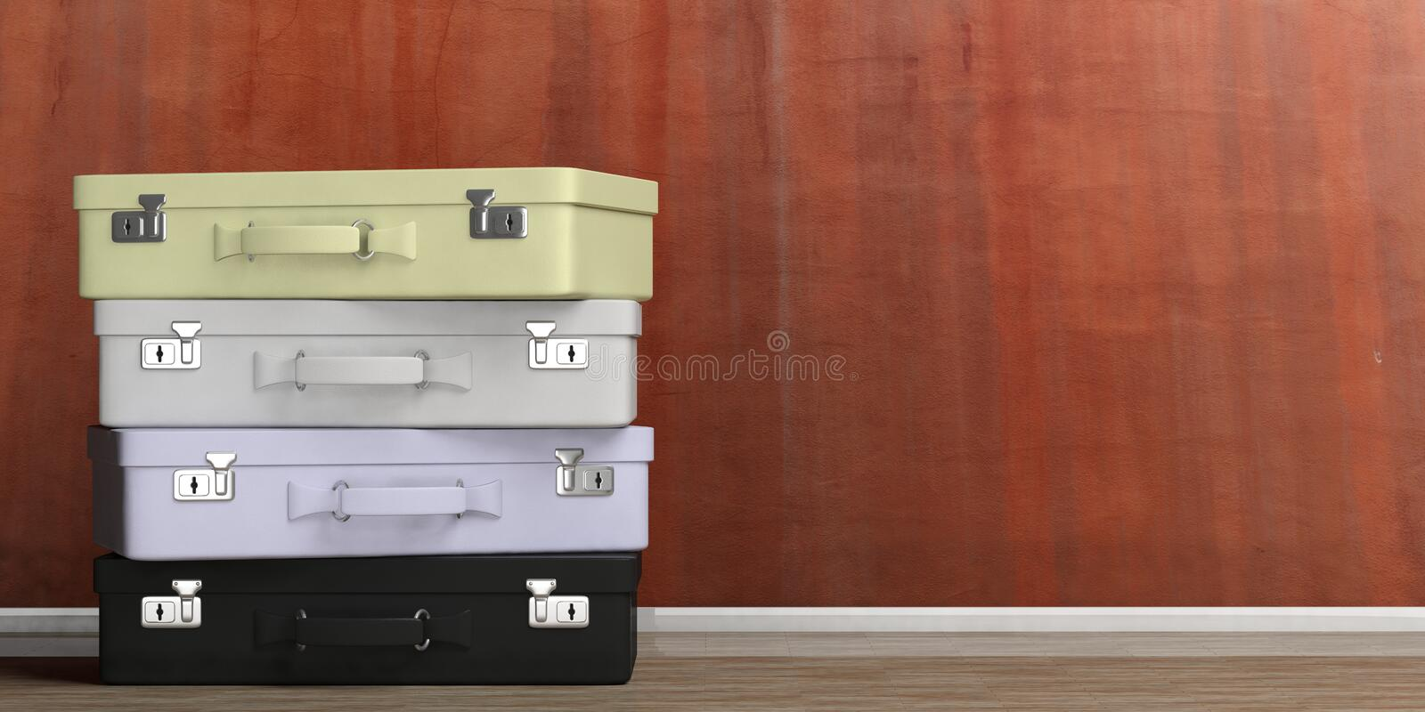 Travel suitcases stack - stucco wall background. 3d illustration vector illustration
