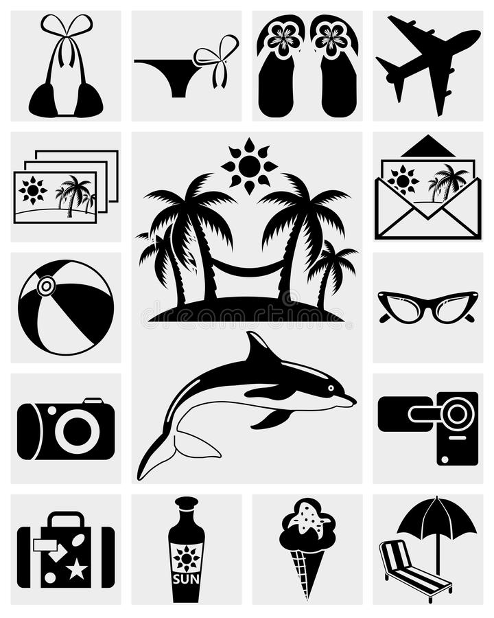 Download Travel and Summer icons stock vector. Image of beach - 28540634