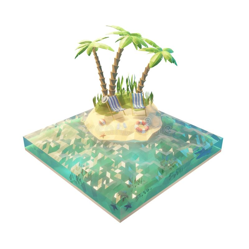 Travel and summer vacation concept on the island. 3d low poly unusual illustration with cut of water, and island. Isolated on royalty free illustration