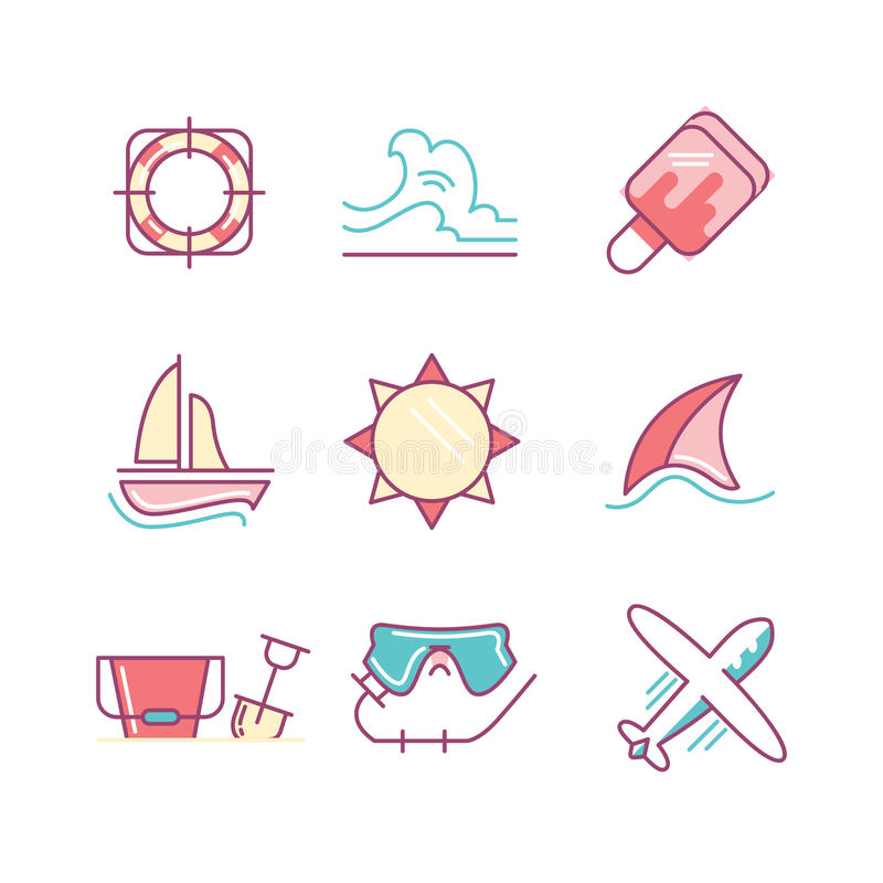 Travel and summer vacation sings set. Thin line art icons. Flat vector illustration