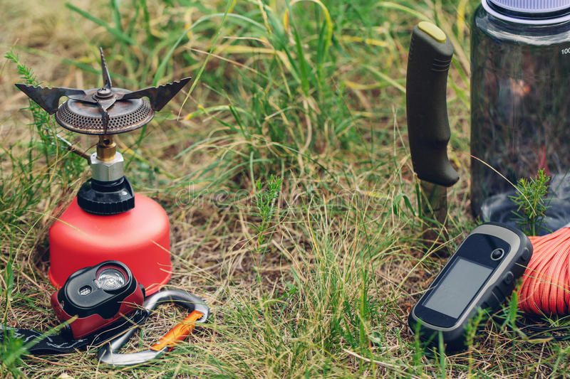 Travel survival kit in the wild. Small Travel survival kit in the wild royalty free stock photos