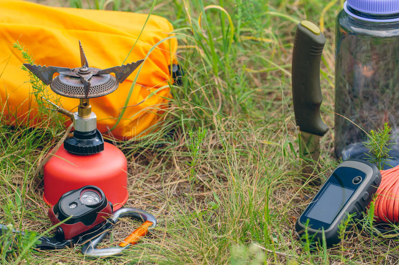 Travel survival kit in the wild. Small Travel survival kit in the wild royalty free stock photo