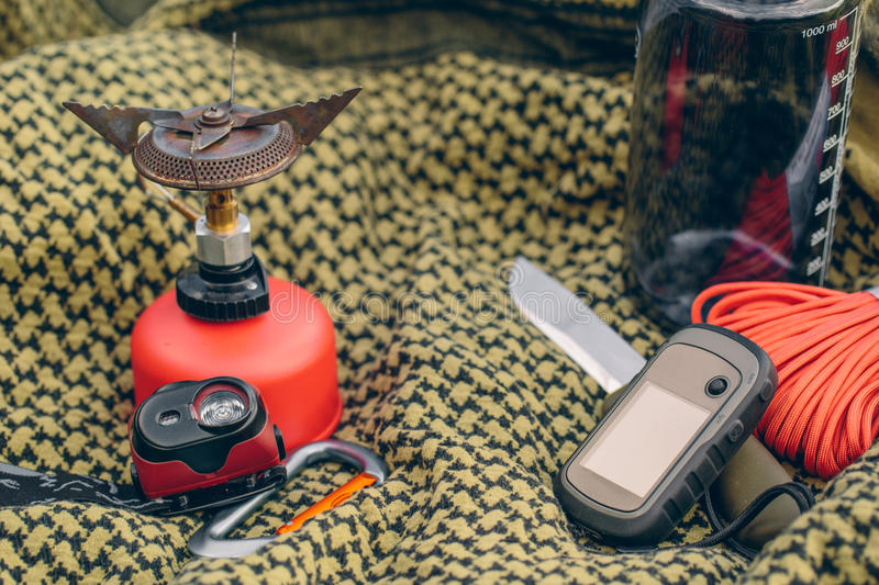 Travel survival kit in the wild. Small Travel survival kit in the wild royalty free stock images