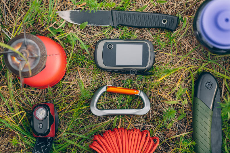 Travel survival kit in the wild royalty free stock photography