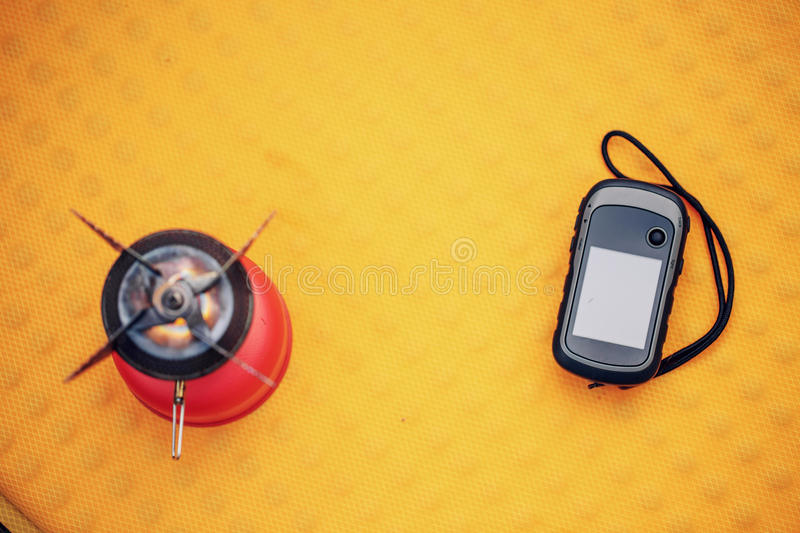 Travel survival kit in the wild. Small Travel survival kit in the wild stock photos
