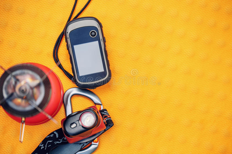 Travel survival kit in the wild. Small Travel survival kit in the wild stock photography
