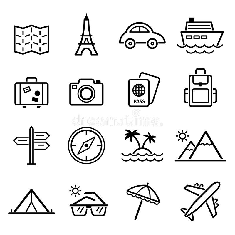 Travel Symbols And Tourism Signs Vector Stock Vector Illustration