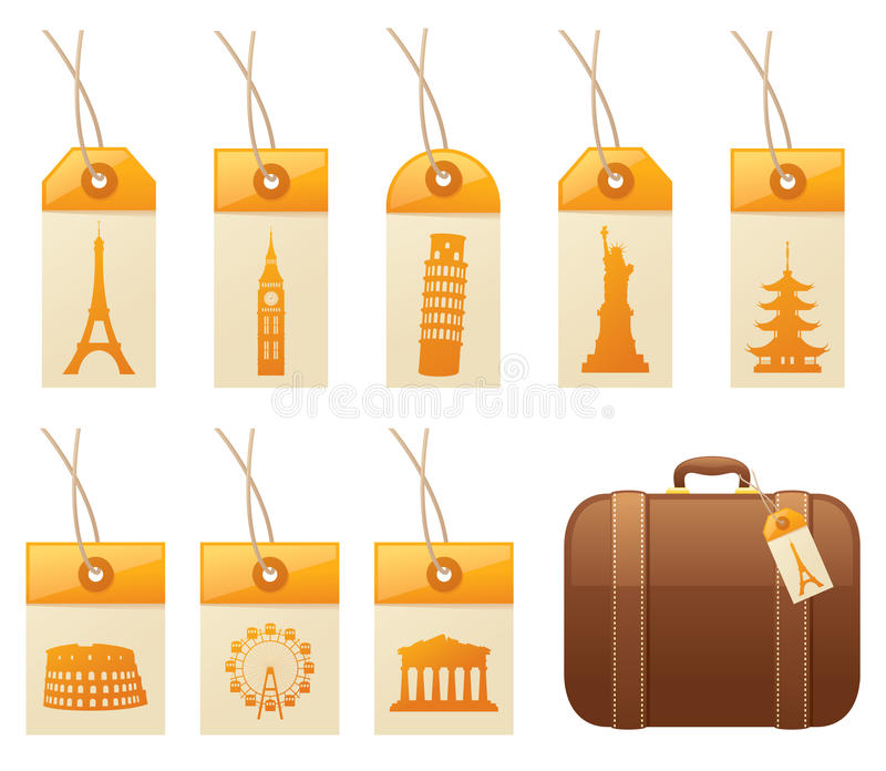 Travel Tags. Tags with famous landmarks, and a suitcase. Tags, landmarks and suitcase can all be used separately royalty free illustration