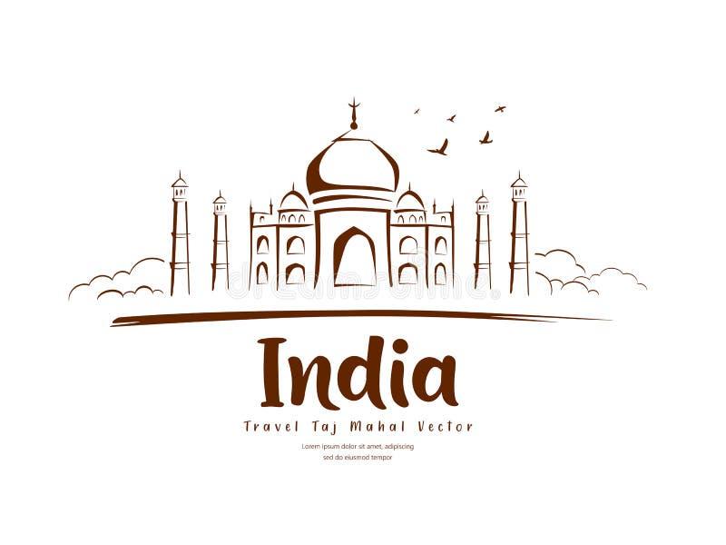 Travel Taj Mahal India vector, sketching drawing background. Illustration royalty free illustration