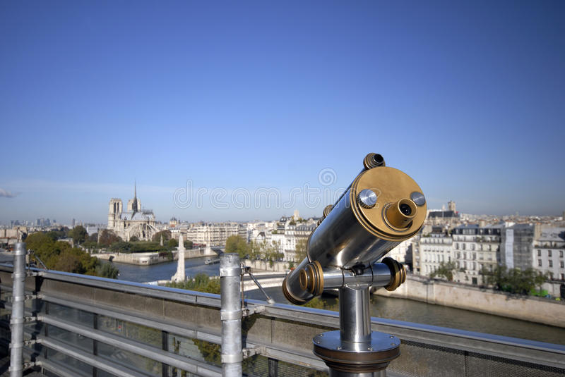 Travel telescope in Paris stock image