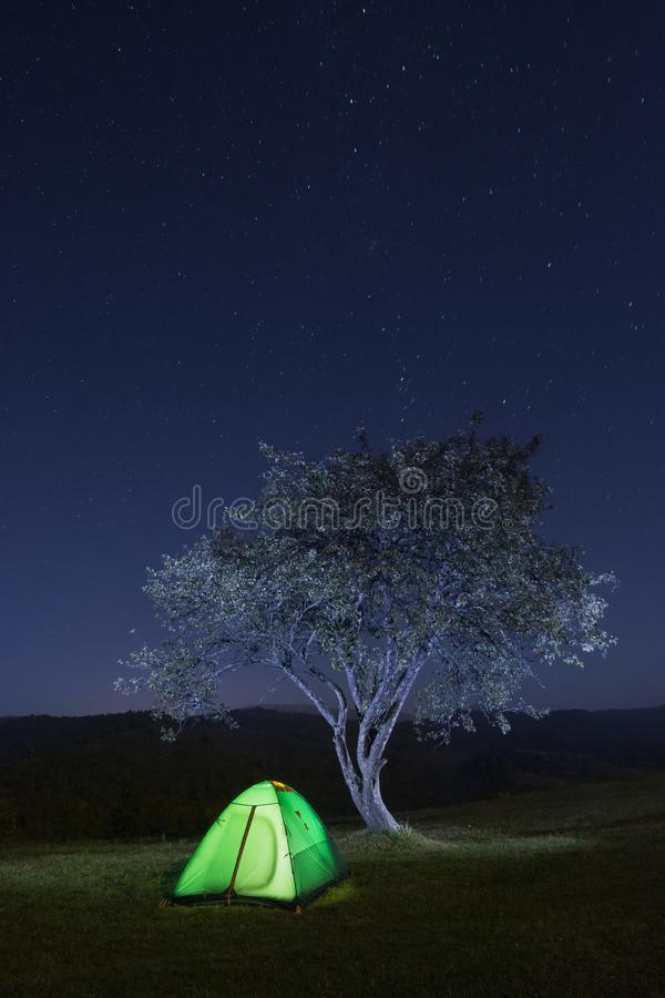 Download Travel Tent Under The Stars Stock Photo - Image of dawn, tent: 109112742